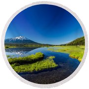 Mt. Bachelor Reflection And Forest Round Beach Towel