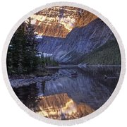 Mt Edith Cavell Reflection Round Beach Towel