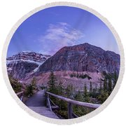 Mt. Edith Cavell Trail At Twilight Round Beach Towel