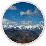 Mt. Everest And Himalaya Round Beach Towel