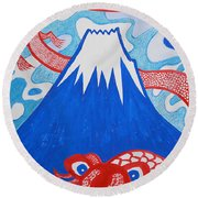 Mt. Fuji And A Red Dragon Round Beach Towel