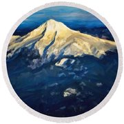 Mt. Hood From Above Round Beach Towel