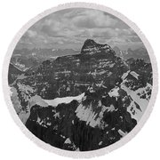 T-703512-bw-mt. Hungabee From Summit Of Mt. Lefroy-bw Round Beach Towel