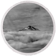 105355-mt. Jefferson Above The Clouds,or,bw Round Beach Towel