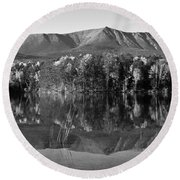 Mt Katahdin Black And White Round Beach Towel