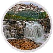 Mt. Kerkeslin  Athabasca Falls Round Beach Towel