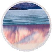 Mt Laurier Mirrored On Lake Laberge Yukon Canada Round Beach Towel