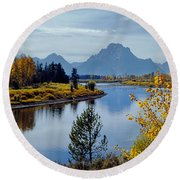 1m9208-mt. Moran And The Snake River, Wy Round Beach Towel