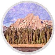 Mt Moran From Colter Bay Round Beach Towel