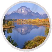1m9234-mt. Moran Reflection, Wy Round Beach Towel