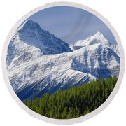 1m3627-mt. Outram And Mt. Forbes Round Beach Towel