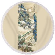Mt Penglai Mountain Of Immortals Round Beach Towel