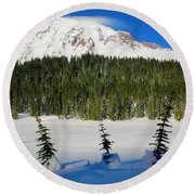 Mt Rainier And Three Trees Round Beach Towel