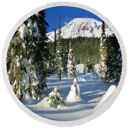 Mt Rainier At Reflection Lakes In Winter Round Beach Towel