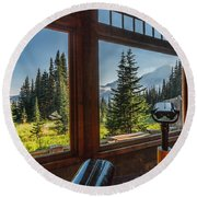 Mt. Rainier Visitor's Center Round Beach Towel