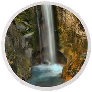 Mt Rainier Waterfall Round Beach Towel