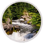 Mt. Rainier Waterfall Round Beach Towel