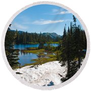 Mt. Rainier Wilderness Round Beach Towel