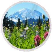 Mt. Rainier Wildflowers Round Beach Towel