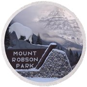 Mt Robson  Round Beach Towel