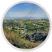 Mt. Soledad - View To The South Round Beach Towel