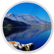 Mt St Helens Reflecting Into Spirit Lake   Round Beach Towel