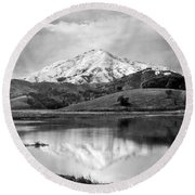 Mt. Tamalpais In Snow Round Beach Towel