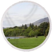 Muckross Lake And Garden Round Beach Towel