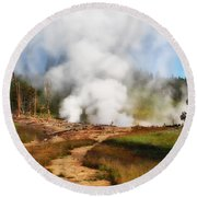Mud Volcano And Sulphur Caldron  Round Beach Towel