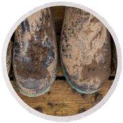 Muddy Boots On Deck Round Beach Towel