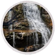 Muddy Creek Falls At Low Water At Swallow Falls State Park In Western Maryland Round Beach Towel