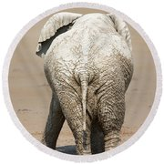 Muddy Elephant With Funny Stance  Round Beach Towel
