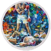 Muhammad Ali Round Beach Towel by Leonid Afremov