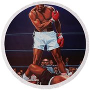 Muhammad Ali Versus Sonny Liston Round Beach Towel by Paul Meijering