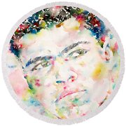 Muhammad Ali - Watercolor Portrait.1 Round Beach Towel