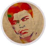 Muhammad Ali Watercolor Portrait On Worn Distressed Canvas Round Beach Towel