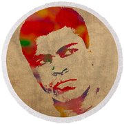 Muhammad Ali Watercolor Portrait On Worn Distressed Canvas Round Beach Towel