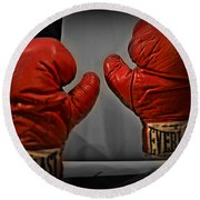 Muhammad Ali's Boxing Gloves Round Beach Towel by Bill Cannon