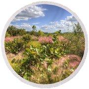 Muhly Grass And Sea Grape Plants Along A Florida Coastline Round Beach Towel