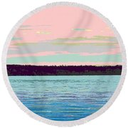 Mukilteo Clinton Ferry Panel 1 Of 3 Round Beach Towel