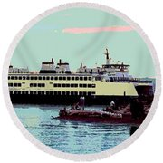 Mukilteo Clinton Ferry Panel 3 Of 3 Round Beach Towel
