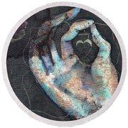 Muladhara - Root 'blue Hand' Chakra Mudra Round Beach Towel