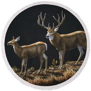 Mule Deer Ridge Round Beach Towel