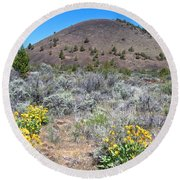 Mule's Ears And Schonchin Butte In Lava Beds Nmon-ca Round Beach Towel