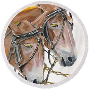 Mules - Two - Beast Of Burden Round Beach Towel