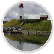 Mulholland Point Lighthouse - New Brunswick Round Beach Towel