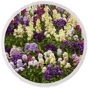 Multi-colored Blooms Round Beach Towel