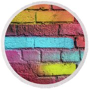 Multi-colored Brick Wall Round Beach Towel
