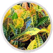 Multi-colored Croton Round Beach Towel