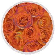 Multi Rose Electric Orange Round Beach Towel